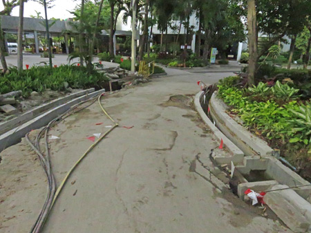 A walkway under renovation at the Dusit Zoo in Bangkok, Thailand.