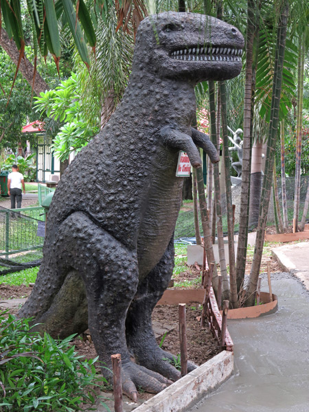 An anatomically correct--not!--Tyrannosaurus Rex roams free at the Dusit Zoo in Bangkok, Thailand.