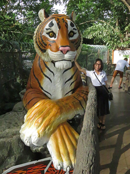 A tiger and a girl pose at the Dusit Zoo in Bangkok, Thailand.