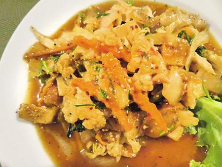 Another plate of woked vegetarian goodness at May Kaidee's in Banglamphu, Bangkok, Thailand.