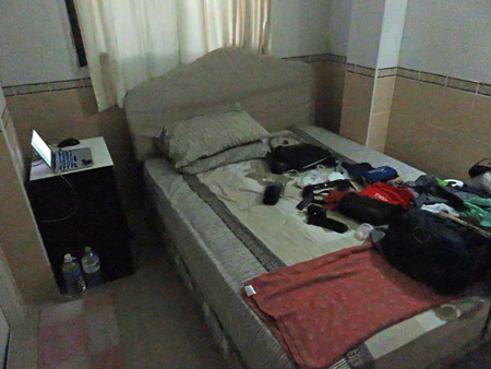 My new deluxe room on the fifth floor of the At Home Guesthouse in Banglamphu, Bangkok, Thailand.