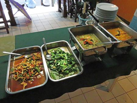 The Saturday evening buffet dinner at May Kaidee's in Banglamphu, Bangkok, Thailand.