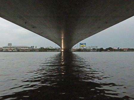 A bottom view of the Rama VIII bridge in Bangkok, Thailand.