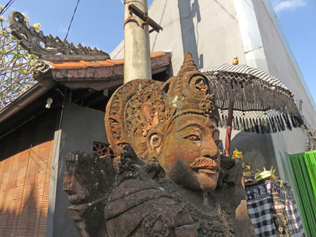A Hindu shrine at the corner of Jalon Dewi Sita and Jalon Karna in Ubud, Bali, Indonesia.