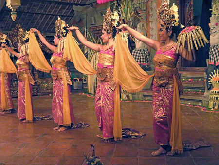 Tirta Sari performs the Puspa Mekar or Pendet dance at Balerung in Peliatan, Bali, Indonesia.