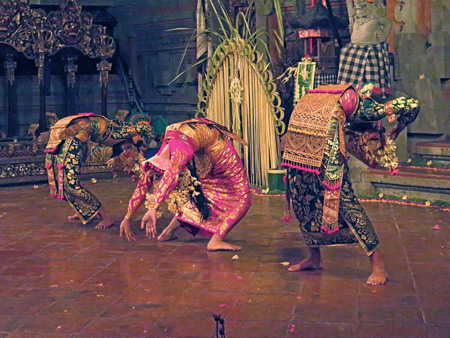 Tirta Sari performs the Legong Lasem dance at Balerung in Peliatan, Bali, Indonesia.
