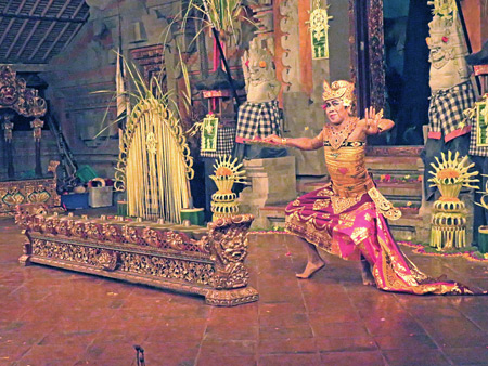 Tirta Sari performs the Kebyar Trompong dance at Balerung in Peliatan, Bali, Indonesia.