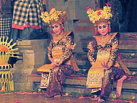 Tirta Sari performs the Legong Jobog dance at Balerung in Peliatan, Bali, Indonesia.