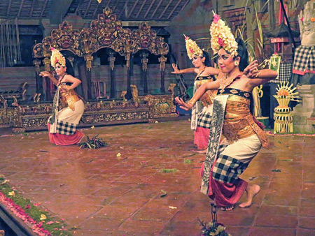 Tirta Sari performs the Barong Taru Pramana dance at Balerung in Peliatan, Bali, Indonesia.