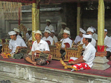 A gamelan plays during a Hindu temple ceremony at Pura Desa in Ubud, Bali, Indonesia.
