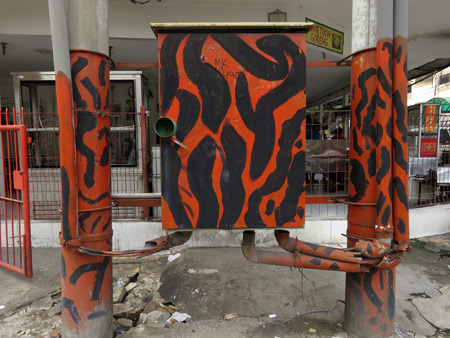 Wild in the streets! A tiger-striped electrical box in Medan, Sumatra, Indonesia.