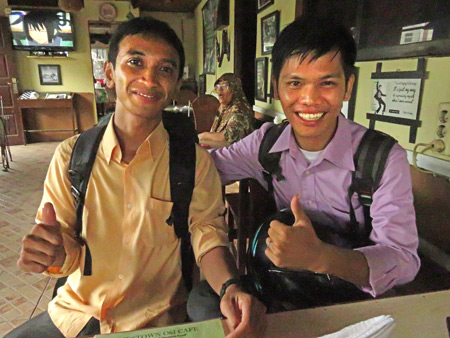 The two young men who interviewed me in Medan, Sumatra, Indonesia.