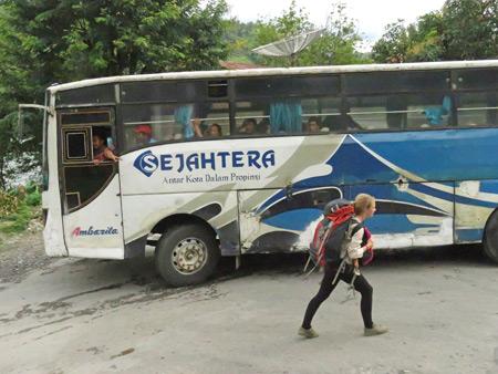A Sejahtera bus drops us off in Parapat, Danau Toba, Sumatra, Indonesia.