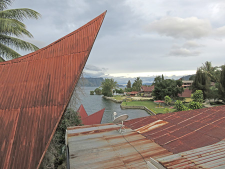 The view from my balcony at Romlan Guesthouse in Tuk Tuk, Danau Toba, Sumatra, Indonesia.