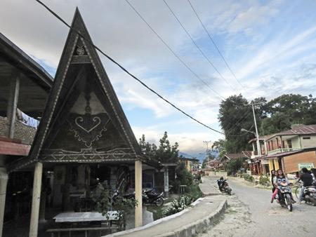 A traditional Batak house in Tuk Tuk, Danau Toba, Sumatra, Indonesia.