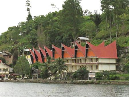 A view of Tuk Tuk, Danau Toba, Sumatra, Indonesia.