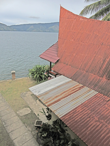 A view of the lake from Romlan Guesthouse in Tuk Tuk, Danau Toba, Sumatra, Indonesia.