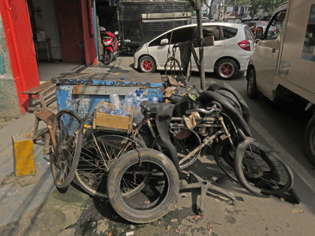 A tire repair cart in Medan, Sumatra, Indonesia.