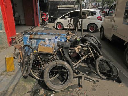 A tire repair cart in Medan, Sumatra, Indonesia.