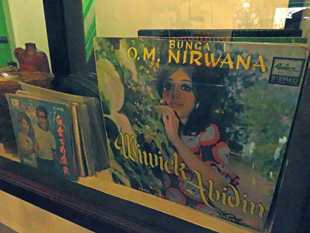 A collection of vinyl records at Roemah Indonesian Kitchen in Medan, Sumatra, Indonesia.