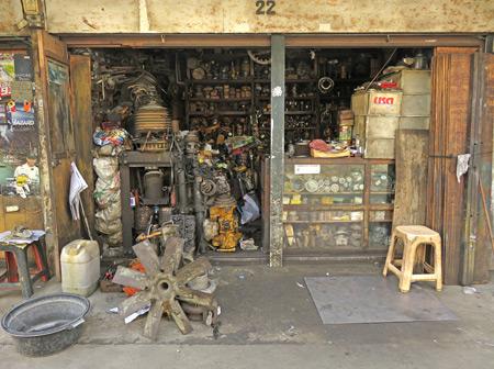 A small machine shop in Medan, Sumatra, Indonesia.