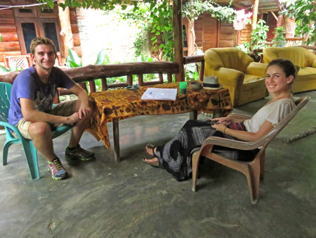 Decker and Joana relax at the Lucky Bamboo Guesthouse in Bukit Lawang, Sumatra, Indonesia.
