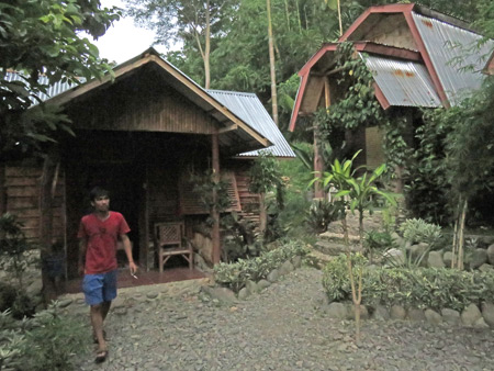 Two bungalows at the Lucky Bamboo Guesthouse in Bukit Lawang, Sumatra, Indonesia.