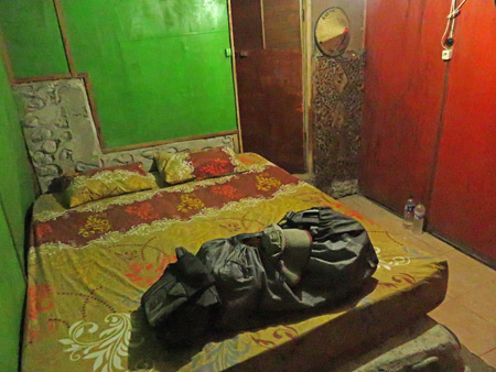 The inside of my bungalow at the Lucky Bamboo Guesthouse in Bukit Lawang, Sumatra, Indonesia.