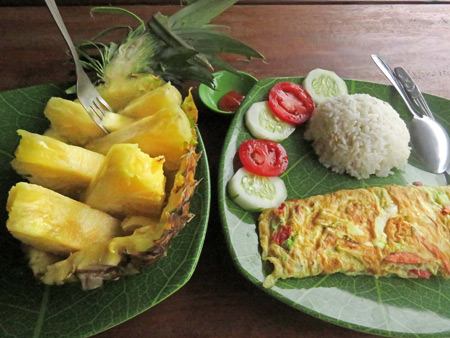 A yummy breakfast at Fido Dido Guesthouse in Bukit Lawang, Sumatra, Indonesia.
