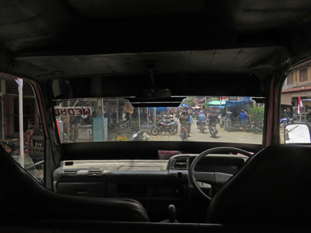 Looking out the front of the mini-bus from Bukit Lawang to Medan, Sumatra, Indonesia.