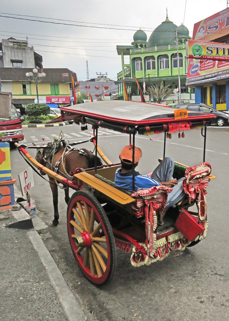A horse-drawn carriage in Bukittinggi, Sumatra, Indonesia.