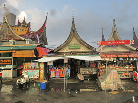 Shops by the Clocktower in Bukittinggi, Sumatra, Indonesia.