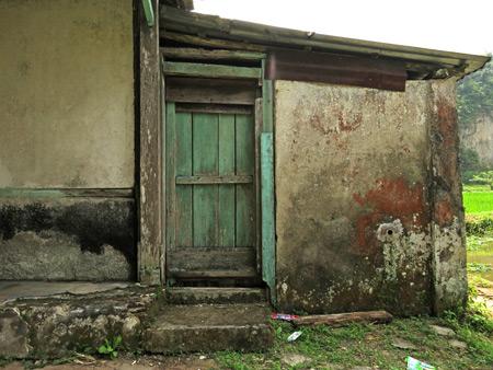 A weathered wall near the Rafflesia flower north of Bukittinggi, Sumatra, Indonesia.