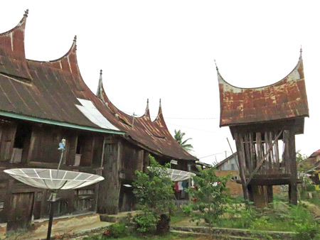 A small village full of traditional Minangkabau houses near Batu Sangkar, Sumatra, Indonesia.