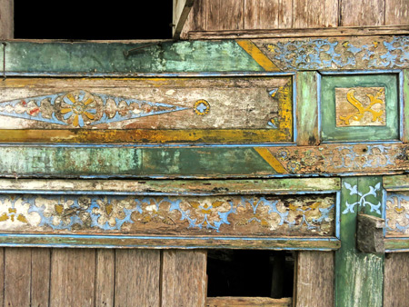 A beautifully weathered wall on a traditional Minangkabau house in Baso village near Bukittinggi, Sumatra, Indonesia.
