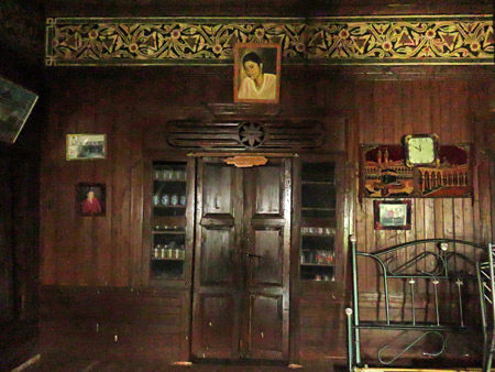 The interior of a traditional Minangkabau house in Rao Rao near Bukittinggi, Sumatra, Indonesia.