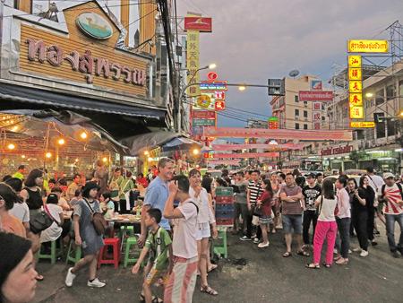 Massive crowds on Thanon Yaowarat in Chinatown, Bangkok, Thailand.