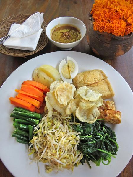 A delicious plate of gado gado at Lada Warung in Ubud, Bali, Indonesia.