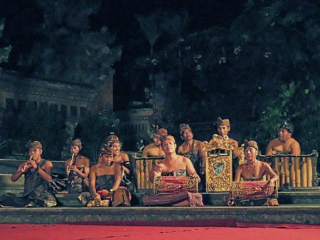 The Janger Cahya Warsa gamelan performs the Janger dance at the Lotus Pond in Ubud, Bali, Indonesia.