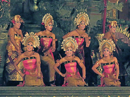 Janger Cahya Warsa performs the Janger dance at the Lotus Pond in Ubud, Bali, Indonesia.