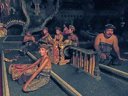 The Janger Cahya Warsa gamelan mugs it up for my lens at the Lotus Pond in Ubud, Bali, Indonesia.