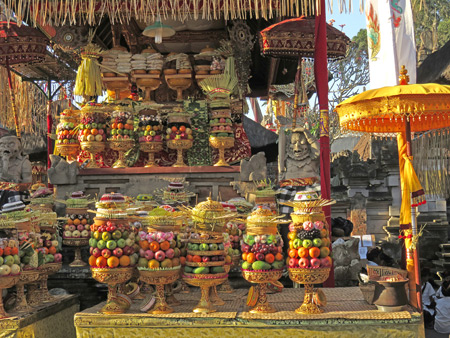 Offerings at a Hindu temple ceremony at Pura Desa in Ubud, Bali, Indonesia.