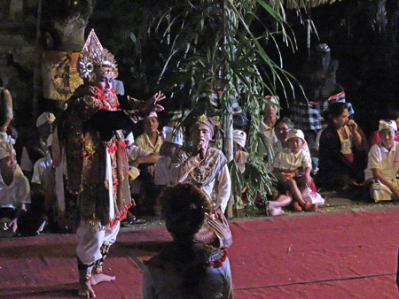 A Baris dance performance as part of the Calonarang drama at Pura Desa in Ubud, Bali, Indonesia.