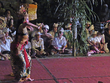 A dance performance as part of the Calonarang drama at Pura Desa in Ubud, Bali, Indonesia.