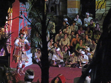 A Telek dance performance as part of the Calonarang drama at Pura Desa in Ubud, Bali, Indonesia.