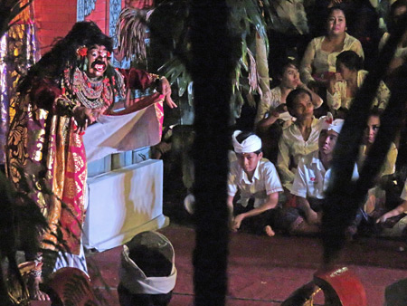 A topeng dance performance as part of the Calonarang drama at Pura Desa in Ubud, Bali, Indonesia.