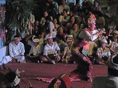 A Bondres comedy performance as part of the Calonarang drama at Pura Desa in Ubud, Bali, Indonesia.