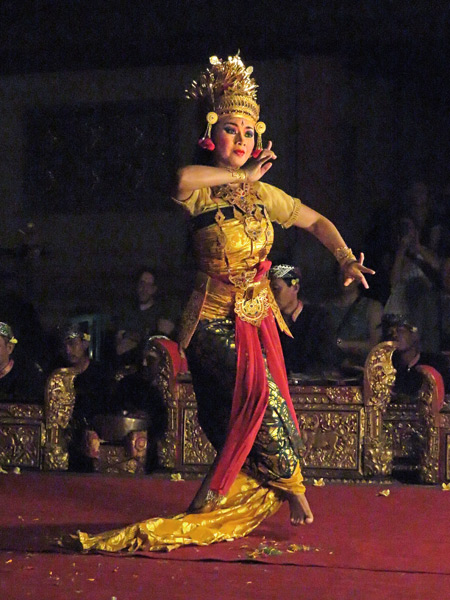 Sekehe Gong Panca Artha performs the Ballet of Bimanlu at Ubud Palace in Ubud, Bali, Indonesia.