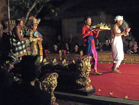 Sekehe Gong Panca Artha performs the Legong Trance at Ubud Palace in Ubud, Bali, Indonesia.