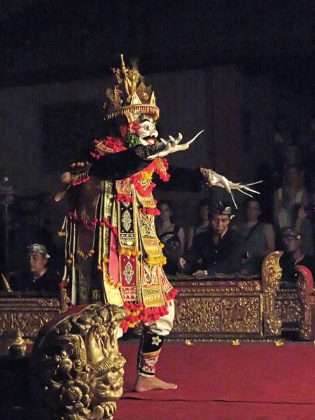 Sekehe Gong Panca Artha performs the Jauk at Ubud Palace in Ubud, Bali, Indonesia.